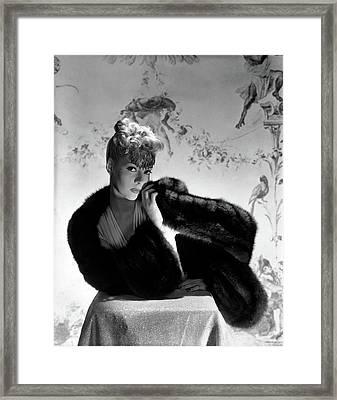 Helen Bennett Wearing A Cape Stole Framed Print
