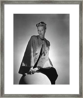 Helen Bennett Wearing A Coat And Gloves Framed Print
