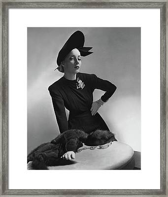 Helen Bennett Wearing A Dress And Hat Framed Print by Horst P. Horst