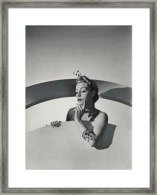 Helen Bennett Wearing Mainbocher Jewelry Framed Print by Horst P. Horst