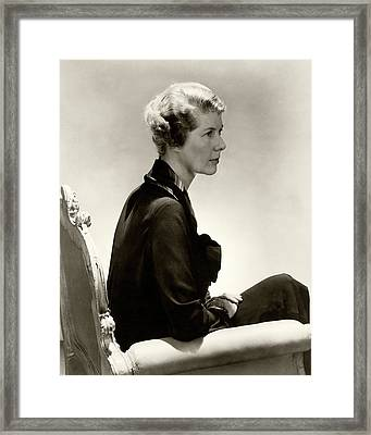 Helen Dinsmore Huntington Sitting In An Armchair Framed Print by Lusha Nelson