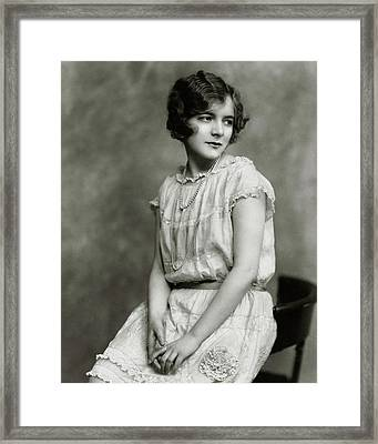 Helen Hayes Wearing A Dress With Lace Trim Framed Print
