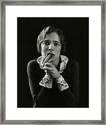 Helen Hayes Wearing Lace Cuffs Framed Print by Edward Steichen