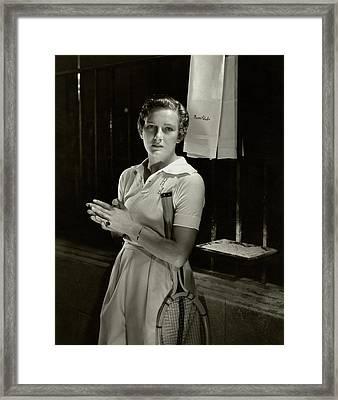 Helen Jacobs Holding A Tennis Racket Framed Print by Edward Steichen