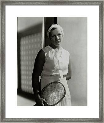 Helen Jacobs Holding A Tennis Racket Framed Print by Horst P. Horst