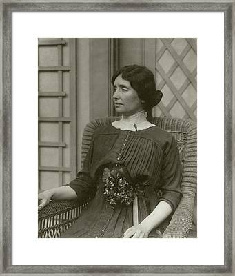 Helen Keller In A Rattan Chair Framed Print by George Grantham Bain