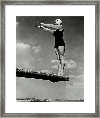 Helen Meany On A Diving Board Framed Print