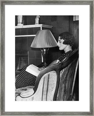Helen Wills Moody Reading Framed Print