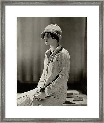 Helen Wills Wearing A Tweed Suit Framed Print by Edward Steichen