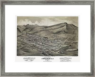 Helena Montana Map  1875 Framed Print by Daniel Hagerman