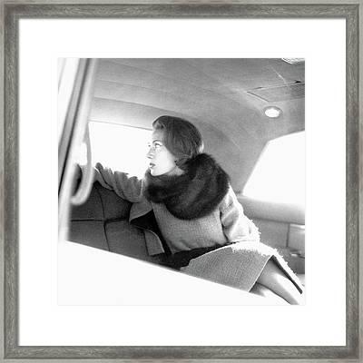 Helene Rochas Wearing Nina Ricci Framed Print by Karen Radkai