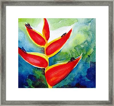 Heliconia - Abstract Painting Framed Print by Carlin Blahnik