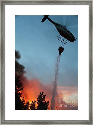 Helicopter Drops Water On White Draw Fire Framed Print