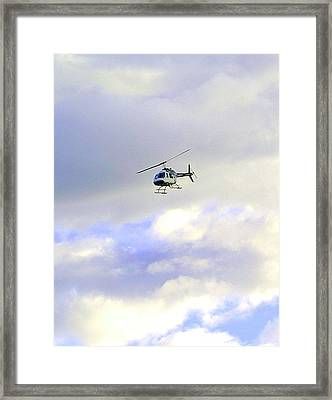 Helicopter Framed Print by Mavis Reid Nugent