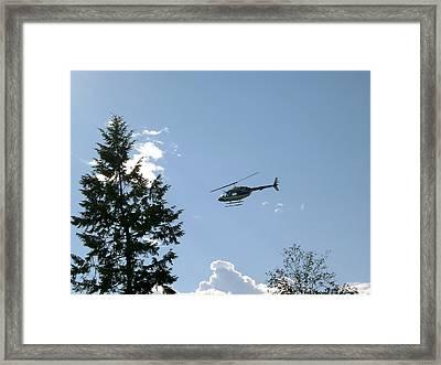 Helicopter Misses Tree Framed Print by Mavis Reid Nugent