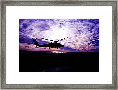 Helicopter Silhouette At Sunset Framed Print by Mountain Dreams