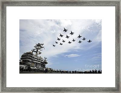 Helicopters Fire Flares As Jets Fly Framed Print by Stocktrek Images