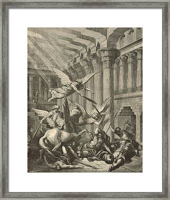 Heliodorus Punished In The Temple Framed Print by Antique Engravings