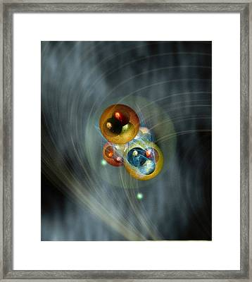 Helium Atom, Conceptual Model Framed Print by Science Photo Library