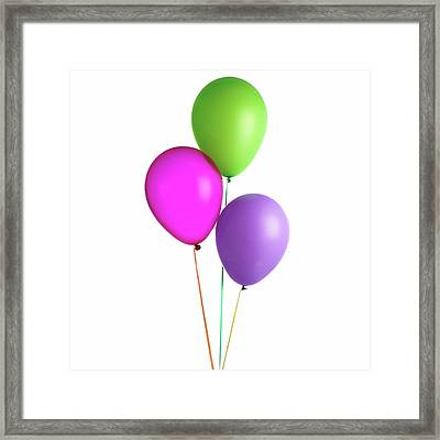 Helium-filled Balloons Framed Print by Science Photo Library