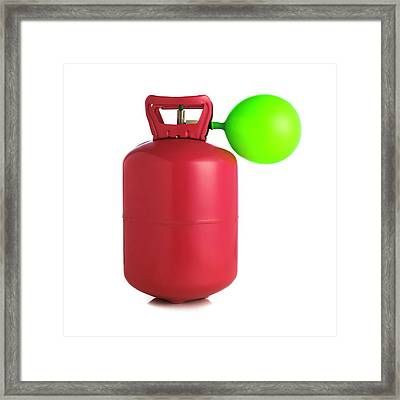 Helium Gas Cylinder And Balloon Framed Print by Science Photo Library