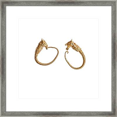 Hellenistic Gold Earrings Framed Print by Science Photo Library