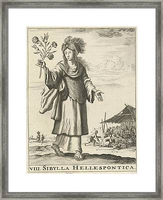 Hellespontic Sibyl, Jan Luyken, Timotheus Ten Hoorn Framed Print