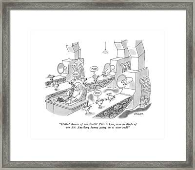 Hello?  Beasts Of The Field?  This Is Lou Framed Print by Jack Ziegler