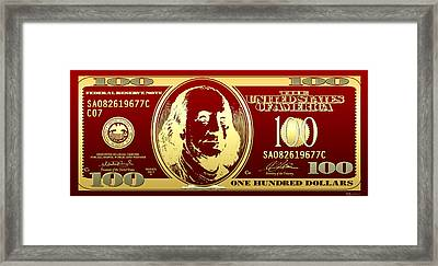 Hello Benjamin - Golden One Hundred Dollar Us Bill On Red Framed Print by Serge Averbukh