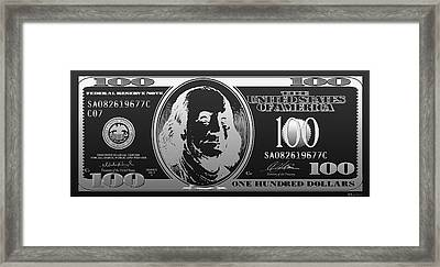 Hello Benjamin - Silver One Hundred Dollar Us Bill On Black Framed Print by Serge Averbukh