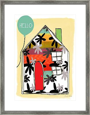 Hello Card Framed Print by Linda Woods