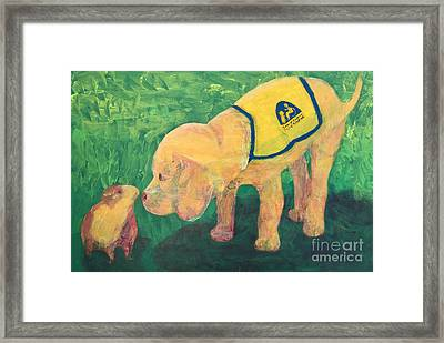 Framed Print featuring the painting Hello - Cci Puppy Series by Donald J Ryker III