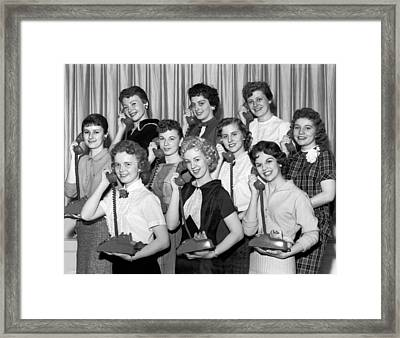 hello Charley Girls Framed Print by Underwood Archives