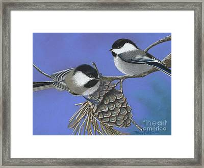 Hello Chickadees Framed Print by Tracy L Teeter