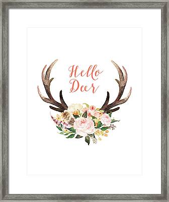 Hello Deer Floral Framed Print