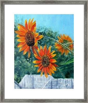 Hello Neighbor-sunflowers Over The Fence Framed Print
