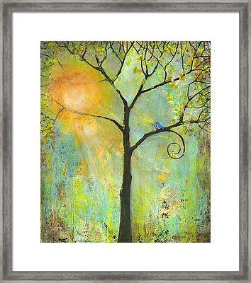 Hello Sunshine Tree Birds Sun Art Print Framed Print