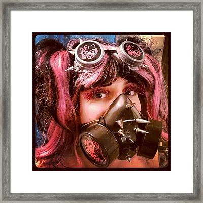 #hellokitty #gasmask #goggles #mask Framed Print