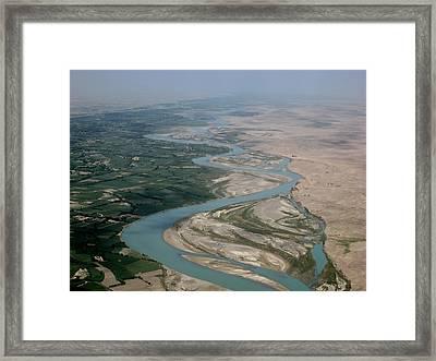 Helmand River Valley Meets Desert Framed Print by Jetson Nguyen