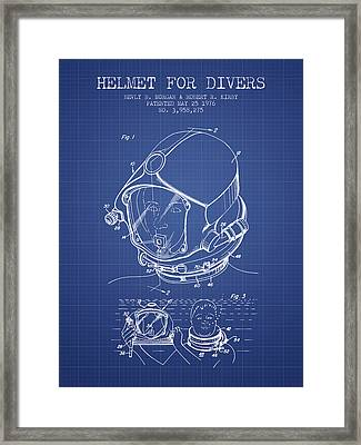 Helmet For Divers Patent From 1976 - Blueprint Framed Print