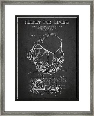 Helmet For Divers Patent From 1976 - Dark Framed Print by Aged Pixel