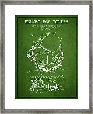 Helmet For Divers Patent From 1976 - Green Framed Print by Aged Pixel