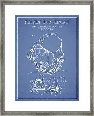 Helmet For Divers Patent From 1976 - Light Blue Framed Print by Aged Pixel