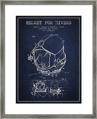 Helmet For Divers Patent From 1976 - Navy Blue Framed Print