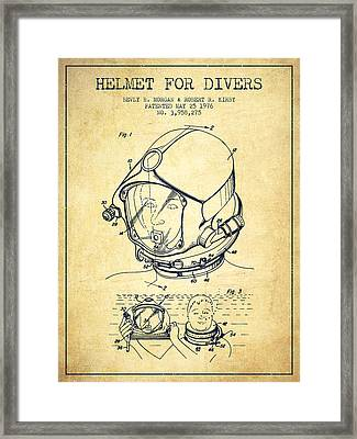 Helmet For Divers Patent From 1976 - Vintage Framed Print by Aged Pixel