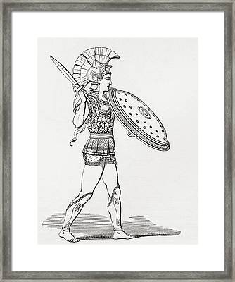 Helmeted Greek Warrior Wearing Greaves And Armour Holding A Clipeus Shield And Sword. From The Framed Print