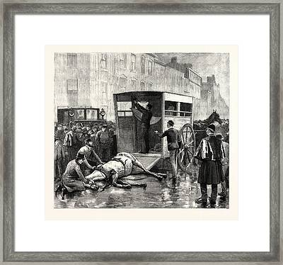 Help For The Wounded The Ambulance Belonging To The Animals Framed Print by English School