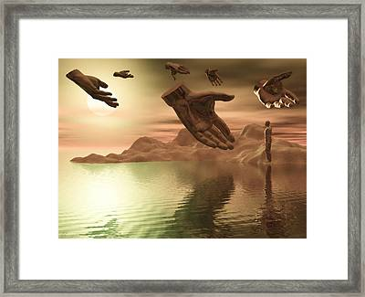 Framed Print featuring the digital art Helping Hands by John Alexander