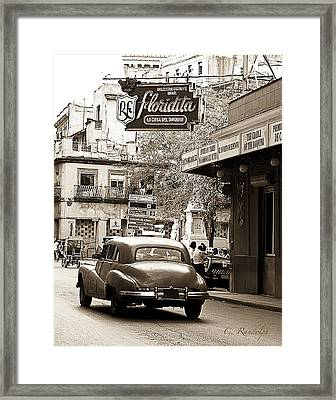 Hemingway Hangout Sepia Framed Print by Cheri Randolph