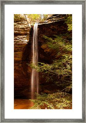 Framed Print featuring the photograph Hemlocks And Waterfall by Haren Images- Kriss Haren